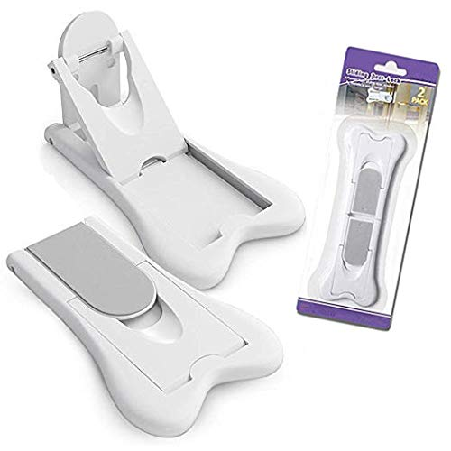 2 pack Sliding Door Lock for Child Safety,Window protection lock,Baby Proof Lock for Patio, Closet,Shower,Window,Wardrobe, Childproof Cupboard Kitchen Cabinet(White ,gray)