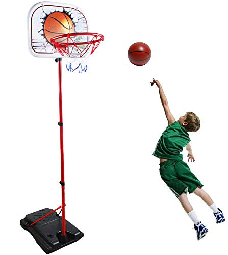 WISHTIME Basketball Mini Basketball Hoop Toy - Height Adjustable Portable Basketball System with Sturdy Base, Ball and Pump for Kids, Toddlers Indoor and Outdoor (Adjustable Basketball Hoop)