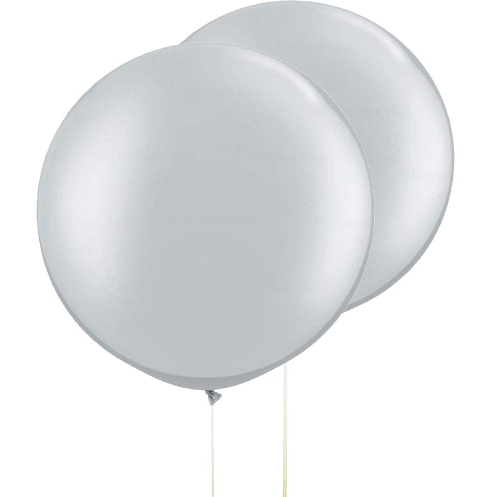 AZOWA 36 In Big Thicken Round Balloons Silver Grey 5 Pack
