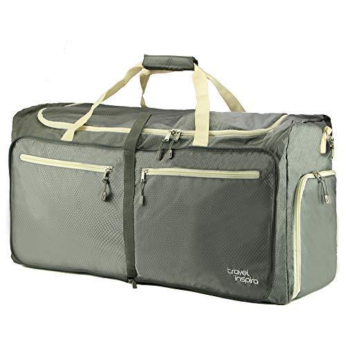 travel inspira 85L Foldable Travel Duffel Bag Luggage Sports Gym Water Resistant Nylon Emergency Use