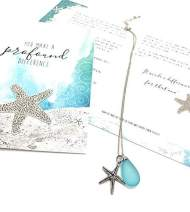 Smiling Wisdom - Handmade Sea Glass Starfish Necklace Gift Set - You Make a Profound Difference Story Card - Appreciation, Thank You - Woman Friend, Teacher, Volunteer - Silver, Frosted Blue
