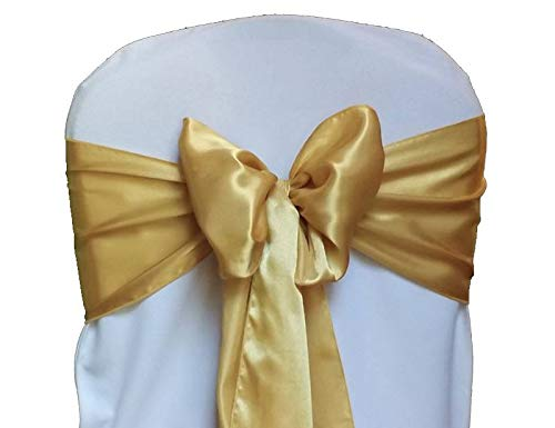 mds Pack of 10 Satin Chair Sashes Bow sash for Wedding and Events Supplies Party Decoration Chair Cover sash -Gold
