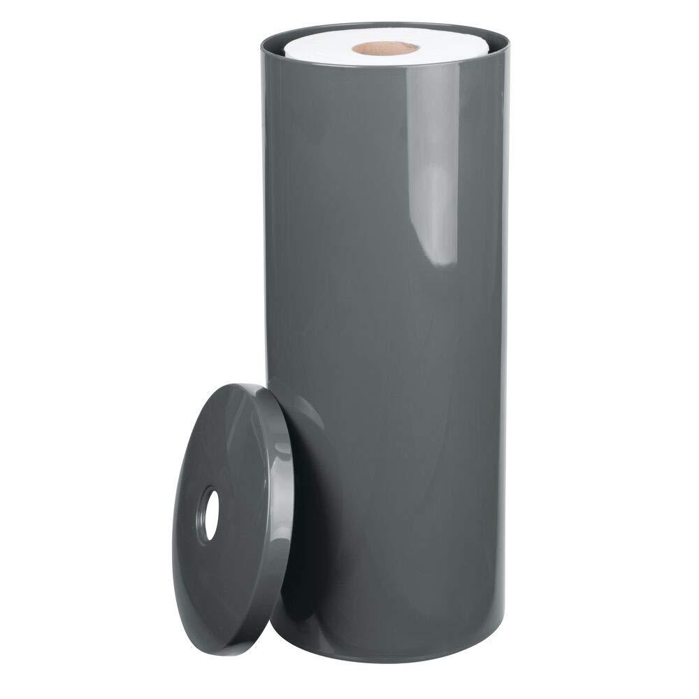 mDesign Modern Plastic Toilet Tissue Paper Roll Holder Canister Stand with Lid - Vertical Bathroom Storage for 3 Rolls of Toilet Tissue - Holds Large Mega Rolls - Slate Gray
