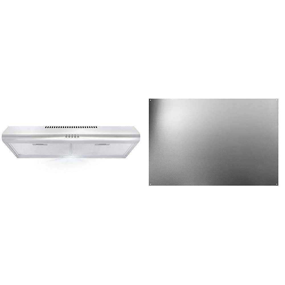 Cosmo 5MU30 30 in. Under Cabinet Range Hood & Broan-NuTone SP3004 Reversible Stainless Steel Backsplash Range Hood Wall Shield for Kitchen, 24 by 30-Inch