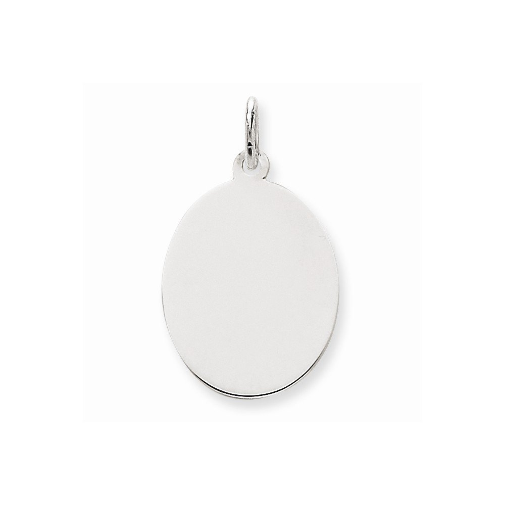 14k White Gold .027 Gauge Oval Engravable Disc Pendant Charm Necklace Elliptical Fine Mothers Day Jewelry For Women Gifts For Her