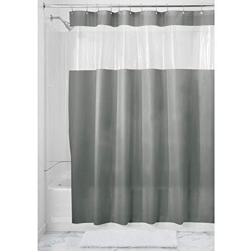 "InterDesign Hitchcock PVC-Free EVA Shower Curtain, 72"" x 72"" - Smoke/Clear"