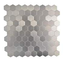 KASARO Peel and Stick Mosaic Tile Backsplash Stainless Steel Self Adhesive Tile for Kitchen Wall Bathroom (10, Hexagon)
