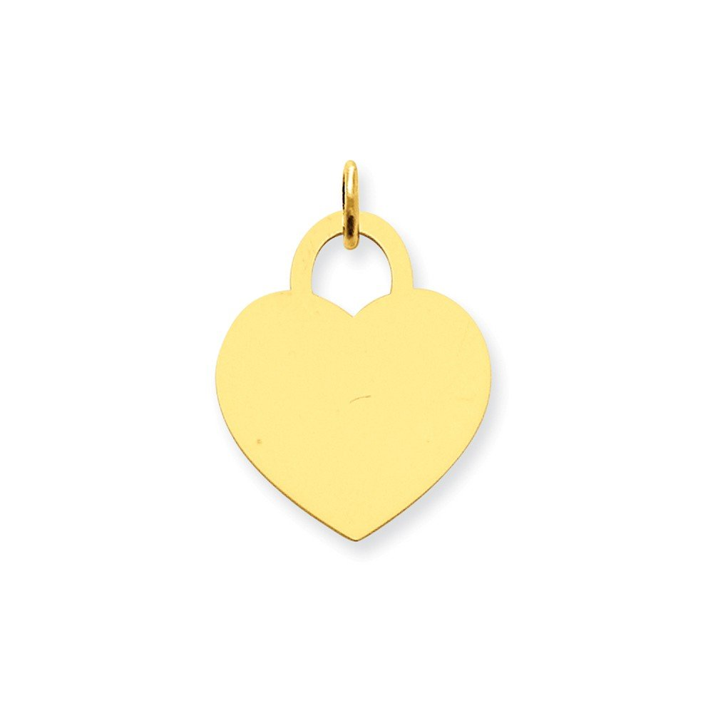 14k Yellow Gold Large Engravable Heart Pendant Charm Necklace Disc Designer Shaped Fine Jewelry For Women Gifts For Her