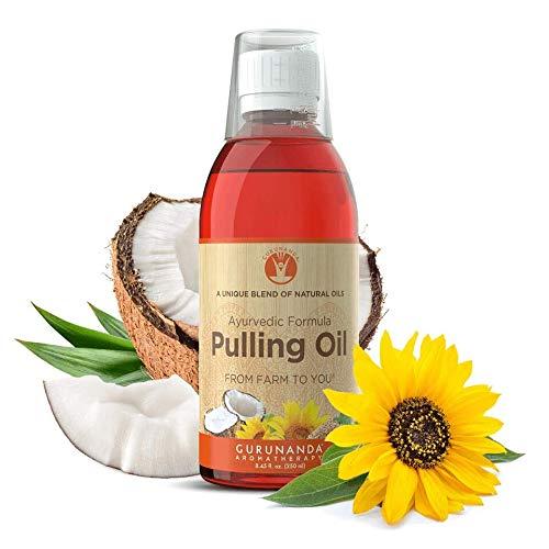 GuruNanda Oil Pulling Oil, Natural Mouthwash, Ayurvedic Blend of Coconut, Sesame, Sunflower, & Peppermint Oils. A Refreshing Oral Rinse - Helps Bad Breath, Healthy Gums + Whitens Teeth. (8.45 fl. oz).