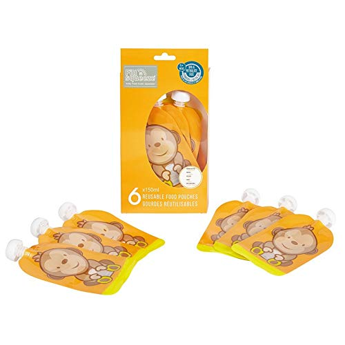 Fill n Squeeze Bottom Open Reusable LARGE Pouch for Easy Cleaning. 6 x 150ml Pack Easy Fill & Clean Pouches Perfect for Weaning, Travel, Pureed Fruit, Organic & Homemade Baby food. Premium Double Zip