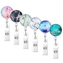 Junejour 6Pcs Badge Holder Retractable Nurse Badge Holder Badge Reel Clip ID Protection Clip Marble Element Easy to Use Resistant