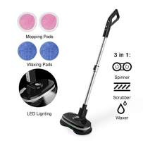 Mamibot Cordless Electric Mop Dual Spin Mopping Polisher 3-in-1 Scrubber Waxer Floor Cleaner 180°Rotation Rechargeable with Water Spray,LED, Adjustable Handle and 4 Replaceable Mop Pads for Wooden Tile Marble Vinyl and Laminated Flooring(Black)