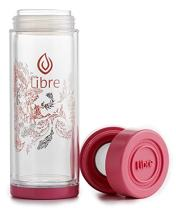 Libre Durable Glass Infuser Bottle with Mesh Strainer for Loose Leaf Tea, Matcha, Fruit, and Cold Brew Coffee, BPA-Free, 14 oz, Garden Dance Pink