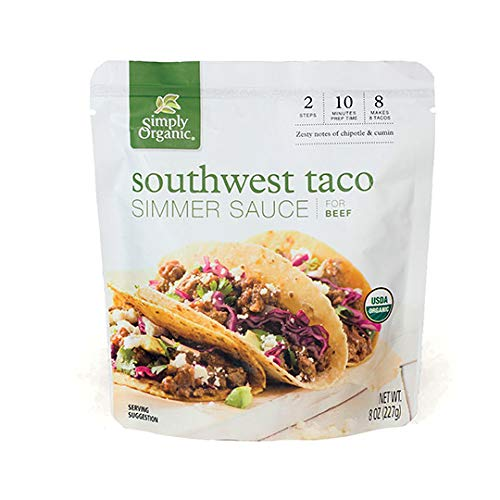 Simply Organic Southwest Taco Simmer Sauce, Certified Organic | 8 oz | Pack of 6