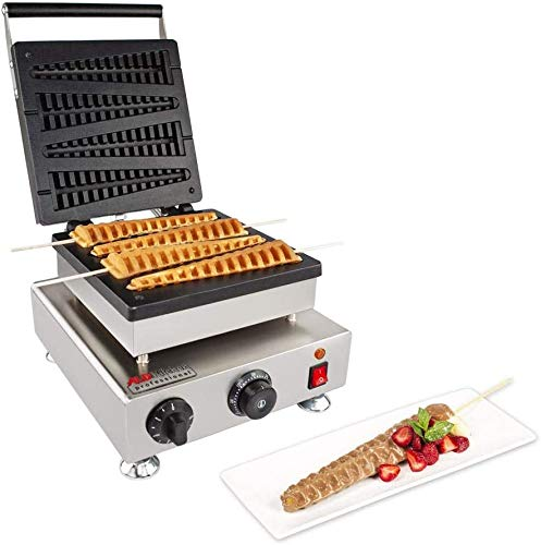 ALDKitchen Stick Waffle Maker | 110V | Commercial Use | Nonstick Cover | Stainless Steel (4 Big)