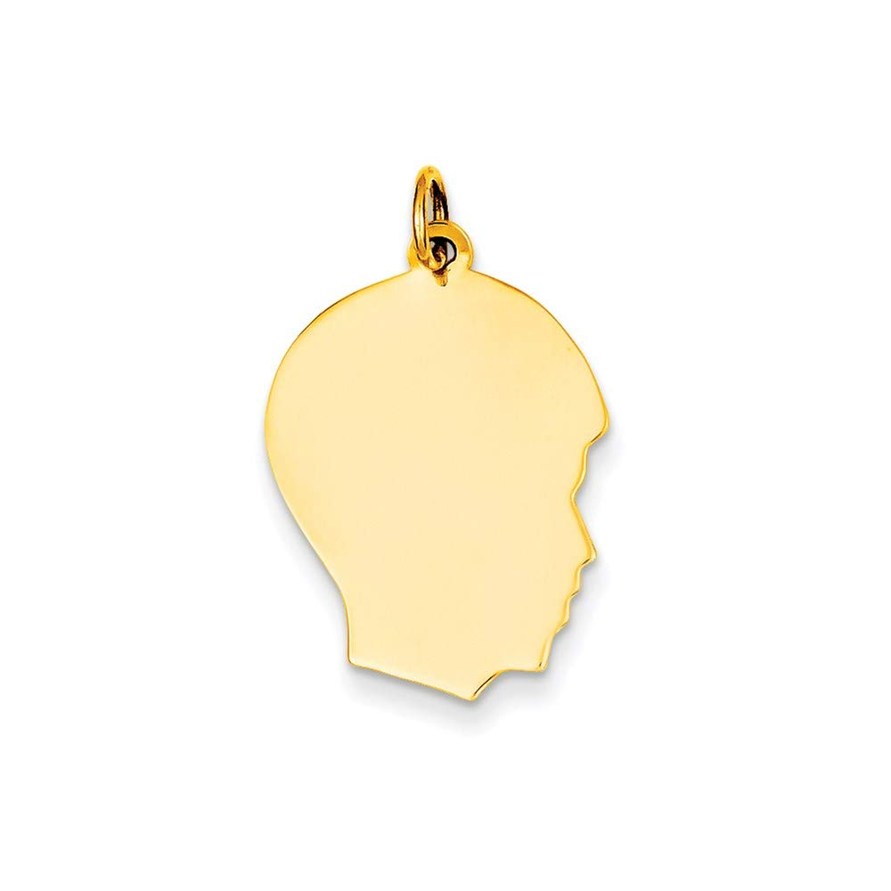 10k Yellow Gold Medium .013 Gauge Facing Right Engravable Boy Head Pendant Charm Necklace Disc Girl Fine Jewelry For Women Gifts For Her