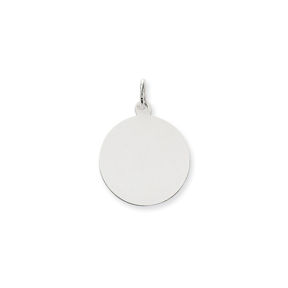 14k White Gold .018 Gauge Round Engravable Disc Pendant Charm Necklace Plain Fine Mothers Day Jewelry For Women Gifts For Her