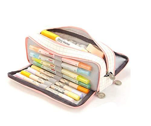 Oyachic Triple Zipper Pen Case Multi Compartments Pencil Case 3 Zippers Pen Bag Pouch Holder Square Grid Cosmetic Bags Organizer Stationery Box (Pink White1)