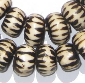 Batik Bone Beads - Full Strand of Fair Trade African Beads - The Bead Chest (Large, Chevron Design)
