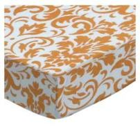 SheetWorld Fitted Crib / Toddler Sheet - Gold Damask - Made In USA