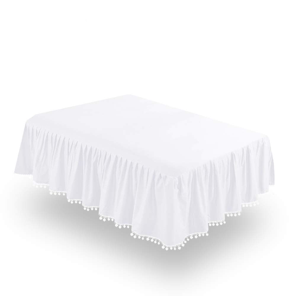 """White Crib Skirt Pleated with Lovely Pompoms, Bedding Dust Ruffle for Baby Girls and Baby Boys, 14"""" Drop, Fit All Standard Crib Bed,White, Microfiber."""