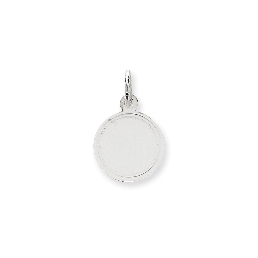 14k White Gold .018 Gauge Round Engravable Disc Pendant Charm Necklace Lasered Etched Fine Mothers Day Jewelry For Women Gifts For Her