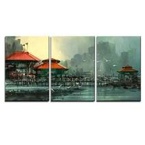 """wall26 - 3 Piece Canvas Wall Art - Landscape of Beautiful Harbor,Fishing Village,Digital Painting - Modern Home Decor Stretched and Framed Ready to Hang - 16""""x24""""x3 Panels"""