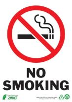 ZING 1085S Eco Safety Sign, No Smoking 10Hx7W, Recycled Polystyrene Self Adhesive