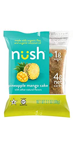Low Carb Keto Snack Cakes (Flax-Based) - Pineapple Mango Flavor (6 Cakes) - Gluten Free, Soy Free, Organic, No Sugar Added - Great for Ketogenic, Low-Carb, Atkins, and Low-Sugar Diets