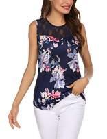 Beyove Women's Plus Size Lace Print Neckline Sleeveless Blouse Silk Camisole Tops(Navy Blue Pattern XL)