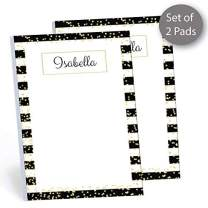 """Golden Classic Set of 2 Personalized Memo Pads/Notepads, 2 pads - 50 sheets per pad. 4"""" x 5.5"""". Made in the USA."""