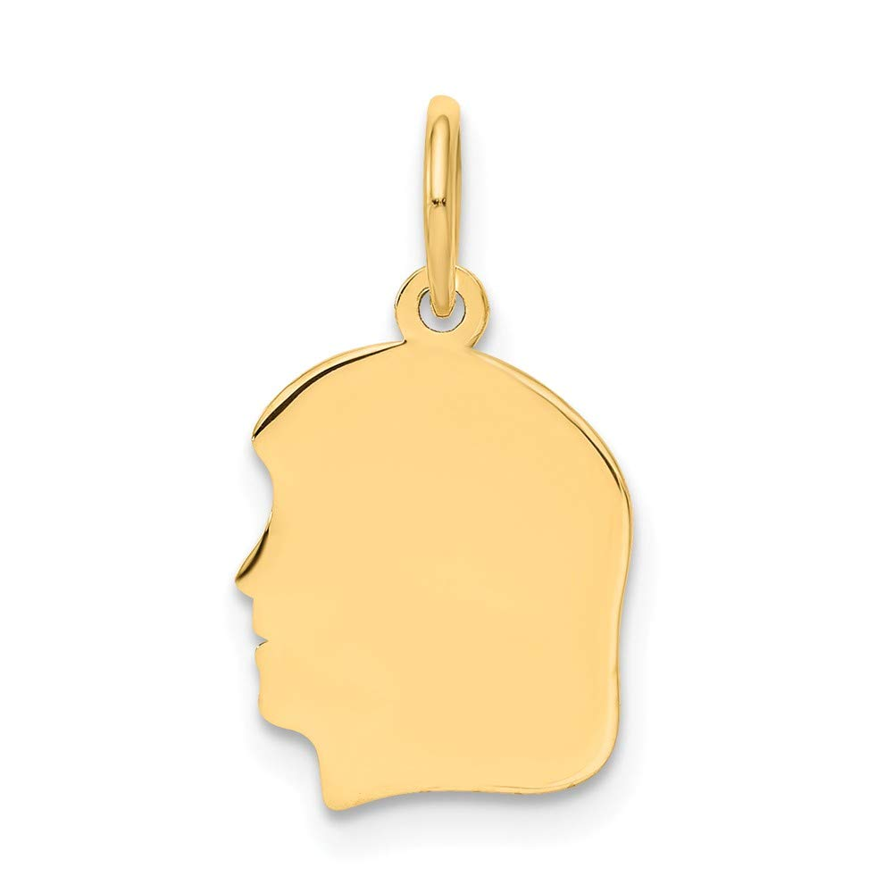 14k Yellow Gold Small .013 Gauge Facing Left Engravable Girl Head Pendant Charm Necklace Disc Boy Fine Mothers Day Jewelry For Women Gifts For Her
