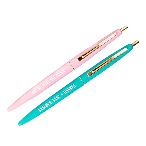 Motivational Pen Set, Inspirational Gift For Her, Girl Boss, Boss Lady, Pink Stationery, Mint Pen, Gold Office Décor