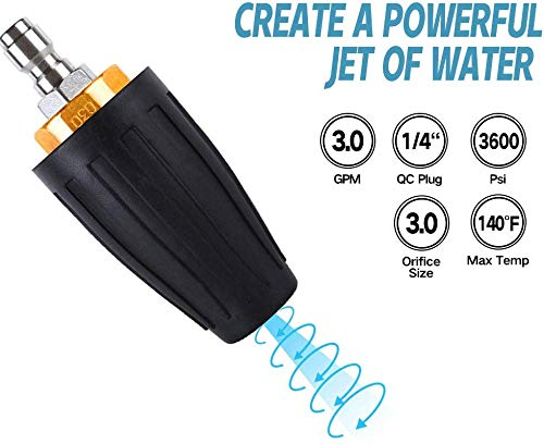 """Turbo Nozzle - Pressure Washer - Power - Gutter Cleaning Tool - 1/4"""" Quick Connect (3600 PSI)"""