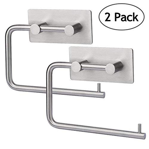 HOMEIDEAS Self Adhesive Toilet Paper Roll Holder Stick On Sticky Tissue Roll Hanger 2 Pack, Bathroom Towel Dispenser, SUS304 Stainless Steel Brushed Finish