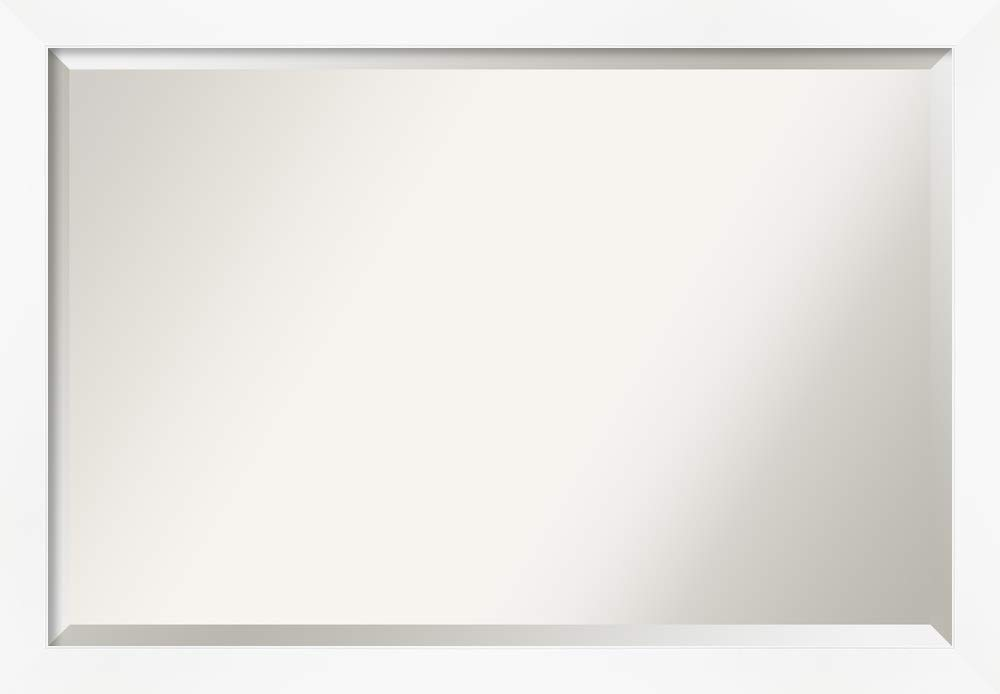 Amanti Art Framed Vanity Mirror | Bathroom Mirrors for Wall | Cabinet White Narrow Mirror | Wall Mounted Mirror | Large Mirror | 27.25 x 39.25 in.