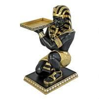 Design Toscano Egyptian Pharaoh's Kneeling Nubian Servant Butler Side Table, 3 Feet, Black/Gold
