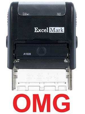 Self-Inking Novelty Message Stamp - OMG - Red Ink