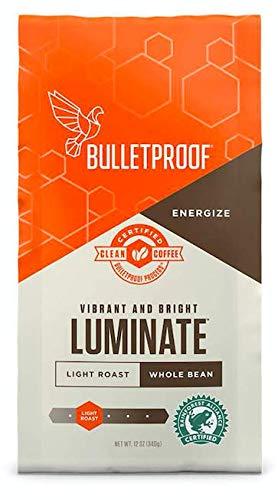 Bulletproof Luminate Whole Bean Coffee, Premium Light Roast Gourmet Organic Beans, Rainforest-Alliance, Perfect for Keto, Upgraded Organic Coffee (12 Ounces).