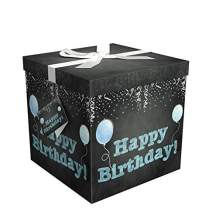 """Gift Box 9""""X9""""X9"""" - Amrita Birthday Collection - Easy to Assemble & Reusable - No Glue Required - Ribbon, Tissue Paper, and Gift Tag Included - EZ Gift Box by Endless Art US"""