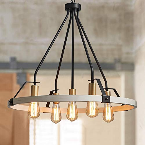 """Bestier Wagon Wheel Chandelier 5 Lights Farmhouse Light Fixture in Painted White Wood Color Gold Black Metal Finish 30"""" Rustic Kitchen Island Dining Pendant Lighting"""