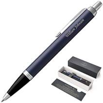 Engraved/Personalized PARKER IM Ballpoint Gift Pen - Matte Blue. Fast 1 Day Engraving Time. Gift pen case included.