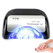 48W Nail Dryer-Lumcrissy Professional Automatic Sensor Quikly Dry Diamond Shaped CCFL & LED UV Nail Lamp (UV & LED 2 in 1 Nail Gel Lamp), Curing Nail Dryer for LED UV Gel Nail Polish nail tools (Black)