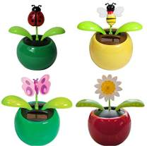4 Eco-Friendly Solar Dancing Flowers in Colorful Pots. Decoration Gift. No Battery Required (1 Orange Daisy, 1 Pink Daisy, 1 Red Flower, 1 Yellow Sunflower) (Bug)