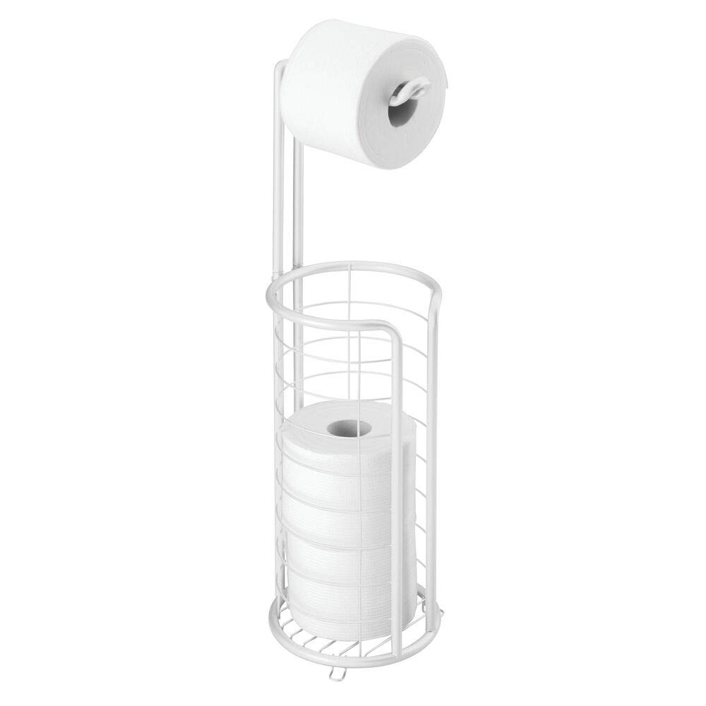Mdesign Modern Metal Freestanding Toilet Paper Roll Holder Stand And Dispenser With Storage For 3 Rolls Of Reserve Toilet Tissue For Bathroom Storage Organizing Holds Mega Rolls White,Cheap Home Garden Decoration Ideas