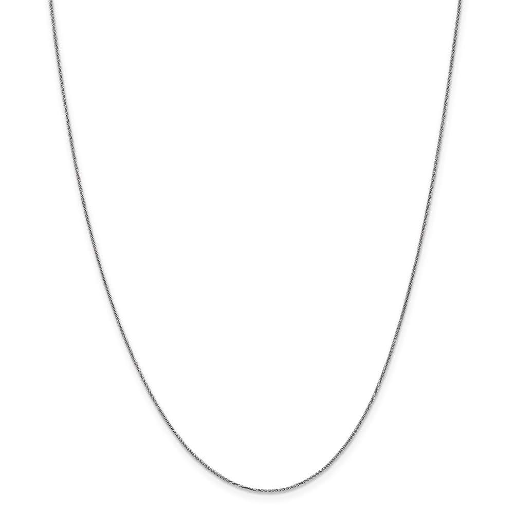 14k White Gold .8mm Baby Spiga Link Wheat Chain Necklace 18 Inch Pendant Charm Fine Mothers Day Jewelry For Women Gifts For Her
