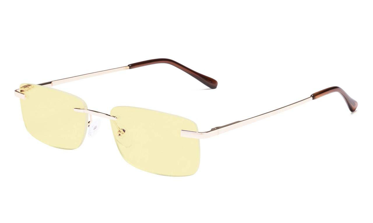 Eyekepper Blue Light Blocking Computer Reading Glasses Rimless Yellow Tinted Lens Readers (Gold, 1.50)