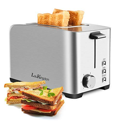 2 Slice Toaster, LauKingdom ToastersBest Rated PrimeExtra Wide Slot Bagel Toaster, 6 Browning Settings,3Functions-Bagel, Defrost,Stop,Cord Storage, Stainless Steel,Silver