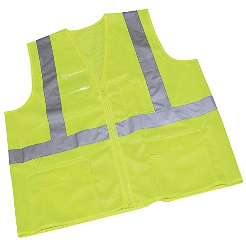 """Ironwear 1284FR-LZ-CID-7-4XLG ANSI Class 2 Flame Retardant Polyester Mesh Safety Vest with Zipper, Clear ID Holder, and 2"""" Silver Reflective Tape, 4X-Large, Lime"""
