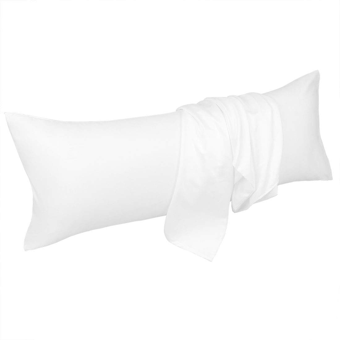 uxcell Body Pillow Cover 20x48 Inch White Silky Satin Body Pillowcases for Hair and Skin Luxury Cooling Anti Wrinkle Wash-Resistant